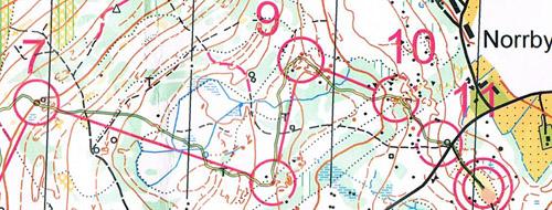 Kartutsnitt från medel-DM 2010 Gästrikland